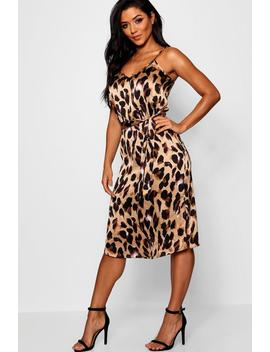 Leopard Satin Slip Dress by Boohoo
