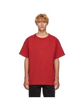 T Shirt Rouge Distressed Logo by Acne Studios