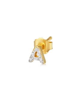 Gold Single Pave A Initial Stud by Missoma
