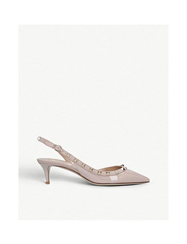 Rockstud Patent Leather Slingback Courts by Valentino