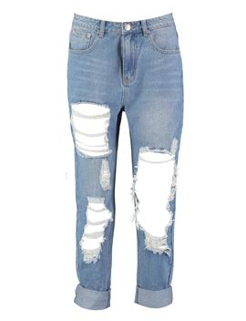 Janae Distressed Denim Mom Jean by Boohoo