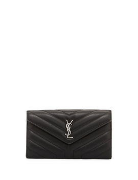 Loulou Monogram Ysl Continental V Flap Wallet by Saint Laurent