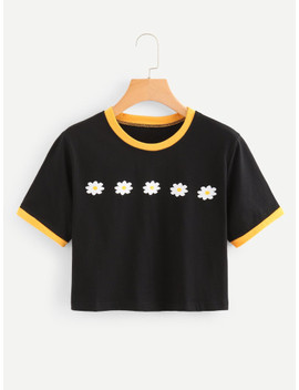 Floral Ringer Tee by Shein