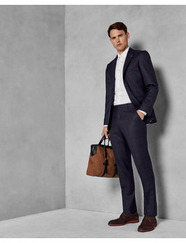 Slim Fit Checked Wool Suit Trousers by Ted Baker