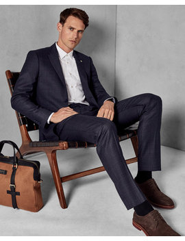 Slim Fit Checked Wool Suit Jacket by Ted Baker