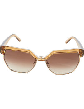 Brown Geometric Round Sunglasses by Chloe