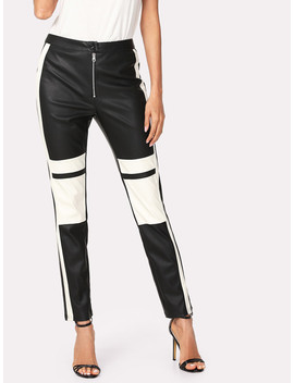 Two Tone Faux Leather Pants by Sheinside