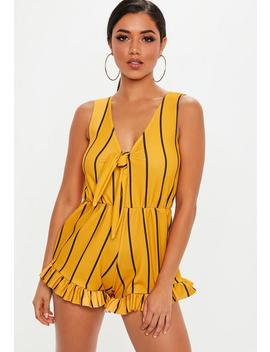 Yellow Stripe Knot Frill Hem Playsuit by Missguided