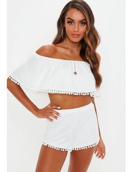 white-pom-pom-trim-bardot-cover-up-short-set by missguided