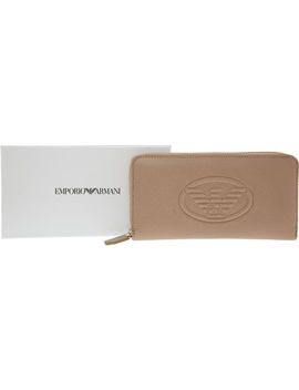 Cream Zip Around Purse by Emporio Armani