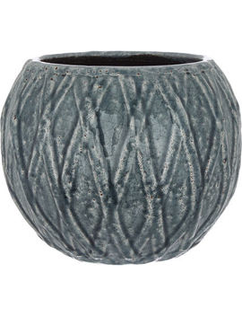 Slate Grey Patterned Planter 21x18cm by Ter Steege