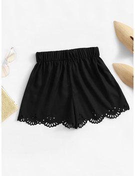 Scallop Hem Hollow Out Shorts by Romwe