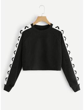Letter Print Sleeve Sweatshirt by Romwe