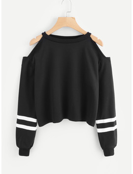 Cold Shoulder Varsity Striped Sweatshirt by Romwe
