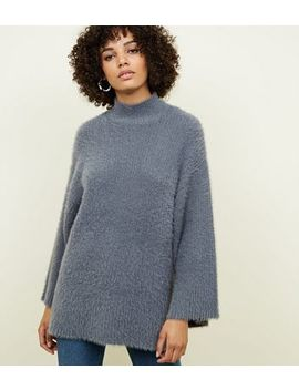 Dark Grey Fluffy Wide Sleeve Jumper by New Look