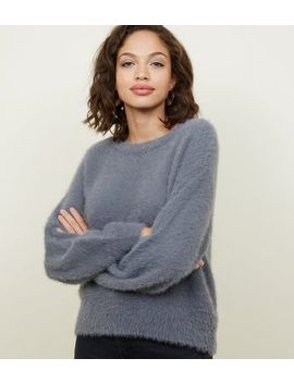 Dark Grey Fluffy Slouchy Jumper by New Look