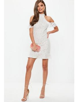White Lace High Neck Flippy Hem Dress by Missguided