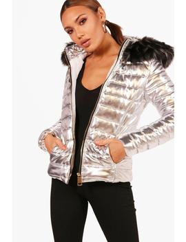 Short Faux Fur Hood Puffer Jacket by Boohoo