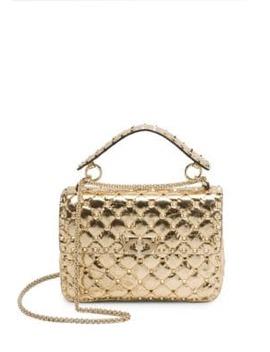 Medium Rockstud Spike Metallic Leather Shoulder Bag by Valentino Garavani