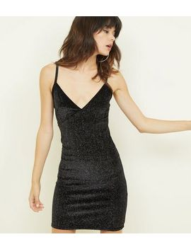 Cameo Rose Black Glitter Velvet Dress by New Look