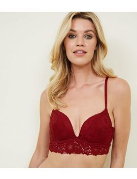 Dark Red Mixed Lace Longline Bra by New Look