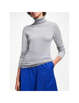 John Lewis Cashmere Roll Neck Jumper, Grey by John Lewis