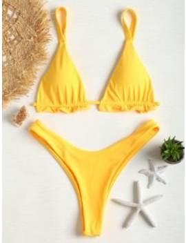 Frilled Thong Bikini Set   Rubber Ducky Yellow S by Zaful