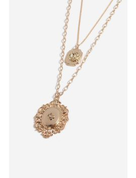 **Engraved Crest Multi Row Necklace by Topshop