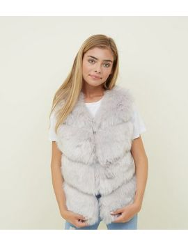 Girls Pale Grey Faux Fur Gilet by New Look