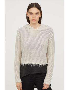 Sweter W Prążki Z Kapturem by H&M