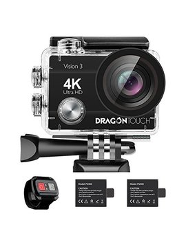 Dragon Touch 4 K Action Camera 16 Mp Sony Sensor Vision 3 Underwater Waterproof Camera 170° Wide Angle Wi Fi Sports Cam With Remote 2 Batteries And Mounting Accessories Kit by Dragon Touch