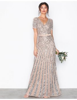 Embellished Short Sleeve Maxi Dress by Maya