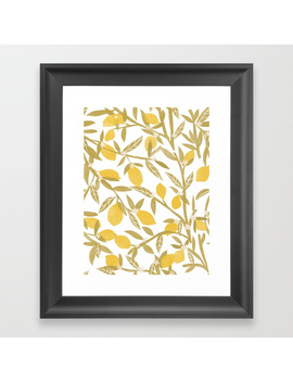 Lemon Pattern Framed Art Print by