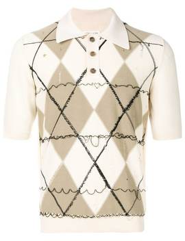 Deconstructed Argyle Polo Shirt by Maison Margiela