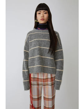 Mohair Striped Sweater Grey/Beige by Acne Studios
