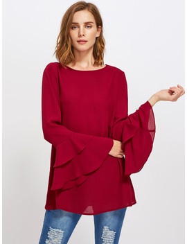 SheinTiered Fluted Sleeve Tunic Top by Shein