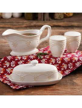 The Pioneer Woman Farmhouse Lace Butter Dish With Gravy Boat And Salt And Pepper Shakers by The Pioneer Woman