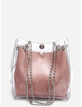 Clear Chain Tote Bag With Inner Pouch by Shein