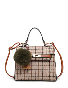 Grid Crossbody Bag With Pom by Shein