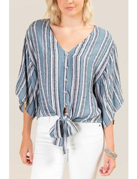 Jasmine Striped Button Front Top by Francesca's