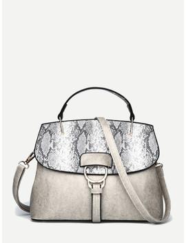 Snakeskin Print Grab Bag by Shein