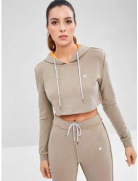 Stitching Drawstring Crop Hoodie   Gray M by Zaful