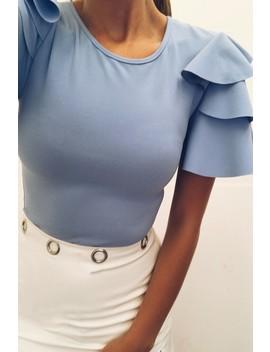 Mia Powder Blue Ruffle Sleeve Bodysuit by Misspap