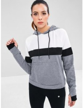 Perforated Color Block Kangaroo Sports Hoodie   Multi S by Zaful