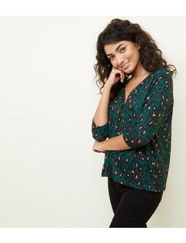 Green Leopard Print Button Through Front Knit Top by New Look