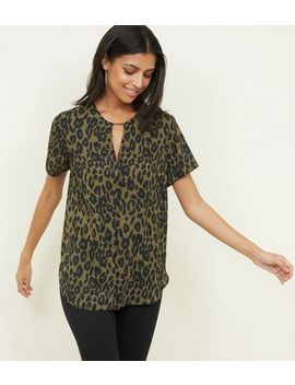Khaki Leopard Print Bar Neck T Shirt by New Look