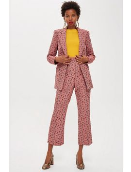 Floral Print Jacquard Kick Flare Trousers by Topshop