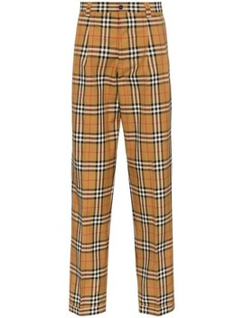 Classic Check Print Tailored Cotton Trousers by Burberry