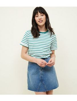 Tall Green Stripe Ringer T Shirt by New Look
