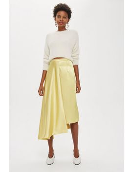 Satin Drape Midi Skirt by Topshop